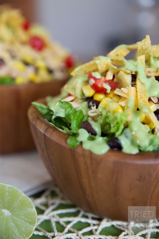 Healthy Taco Salad with Creamy Avocado Cilantro Dressing // The creamy avocado cilantro dressing pairs nicely with the taco salad (almost but not quite resembling a popular restaurant dressing). It's perfectly healthy yet delicious! | Tried and Tasty