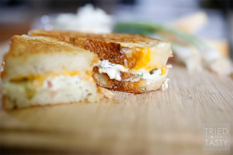 Jalapeno Popper Grilled Cheese Sandwich // If you like traditional jalapeño poppers, you are sure to love this popper transformed grilled cheese. Don't like spicy foods? Don't worry, you can adjust easily to fit any spice tolerance! | Tried and Tasty