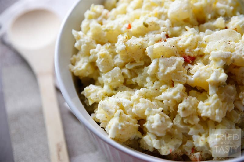Moms Best Potato Salad // If you're looking for a good old fashioned potato salad recipe, look no more. This is THE recipe for you! It's perfect for any BBQ, picnic, or gathering for any reason. I've loved growing up with this recipe and I'm happy to share it with all of you! Tried and Tasty