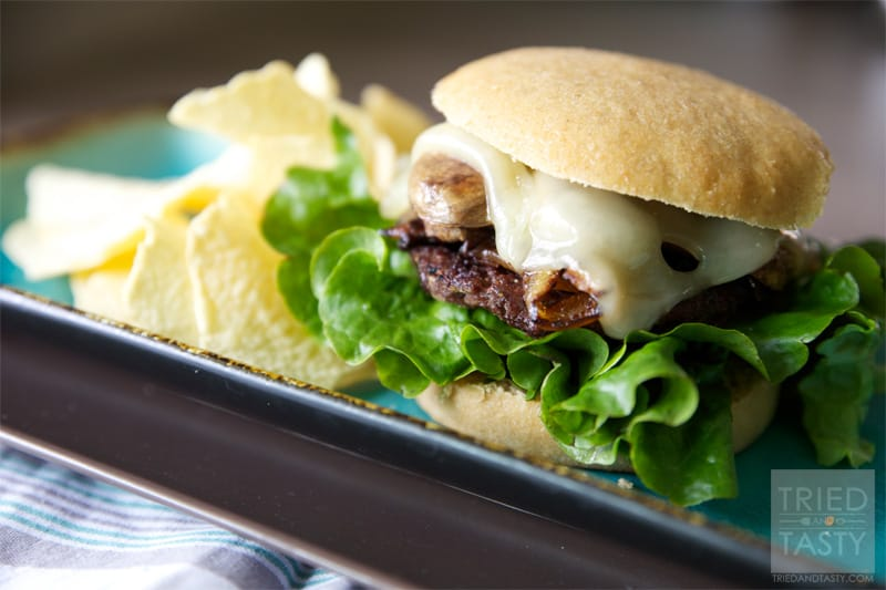 Sauteed Mushroom & Swiss Burger with Caramelized Onions // Tried and Tasty