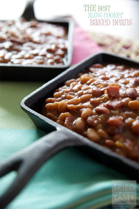 THE Best Slow Cooker Baked Beans // If ever you wanted a killer recipe for baked beans, you need look no farther. These hands down are the best homemade baked beans you'll taste. | Tried and Tasty