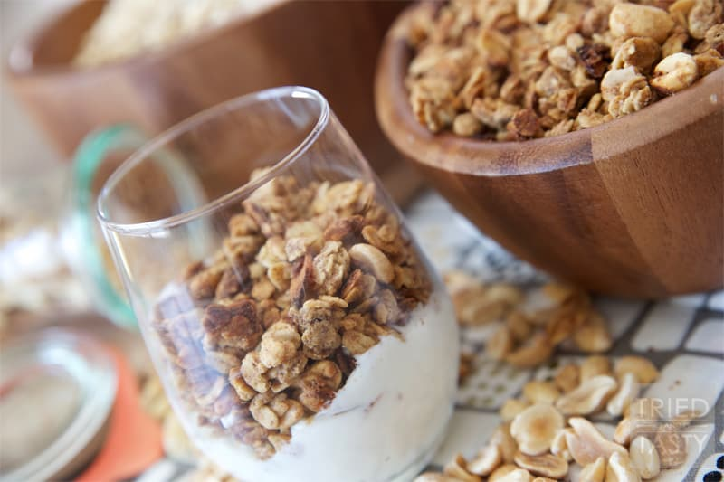 Peanut Butter Granola // A great way to start your morning. Make ahead to have a quick breakfast on the go ready all week!   Tried and Tasty