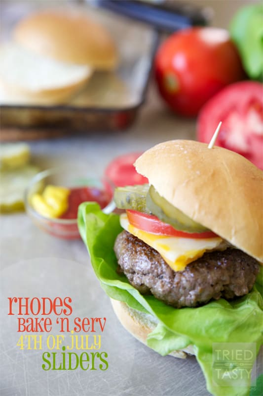 Rhodes Bake N Serve 4th of July Sliders // Sliders made easy using Rhodes rolls. The perfect answer for tonight's dinner. | Tried and Tasty