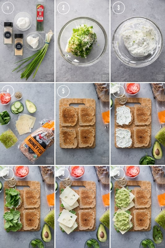 A collage of step by step photos of how to make The Ultimate Veggie Sandwich