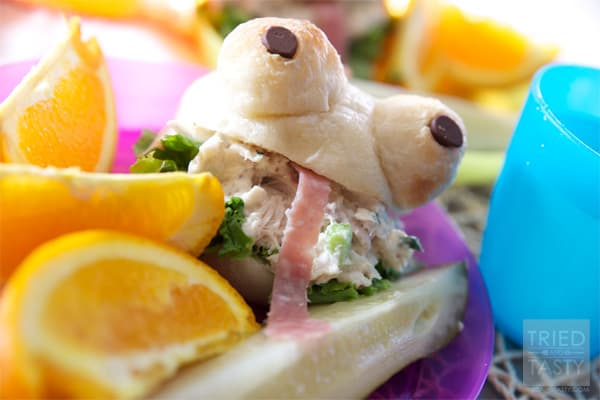 Chicken Salad Frog Sandwiches // How would you like to be the coolest parent around town? Tell me these Chicken Salad Frog Sandwiches aren't the cutest little things you ever did see?   Tried and Tasty