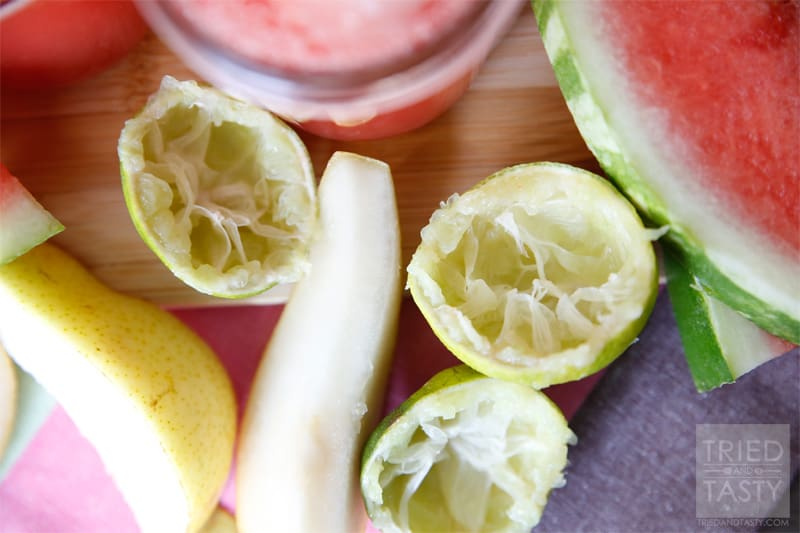 Crisp Watermelon Summertime Breeze // Similar to my Cool Watermelon Refresher, add in some pears and you've got a sippable version of the summertime breeze! Delightful! | Tried and Tasty