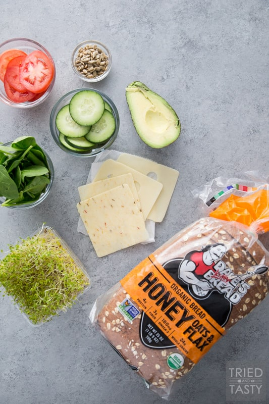Ingredients to make The Ultimate Veggie Sandwich