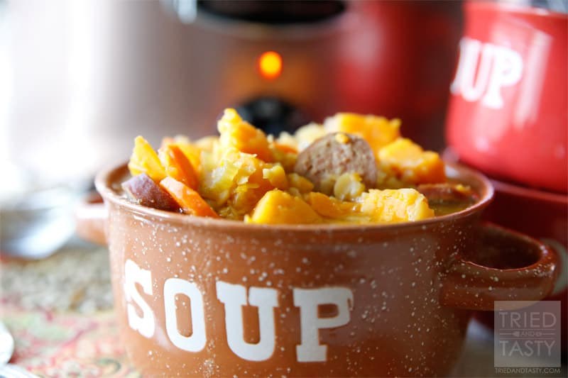Hearty Split Pea Sausage & Sweet Potato Soup // Tried and Tasty