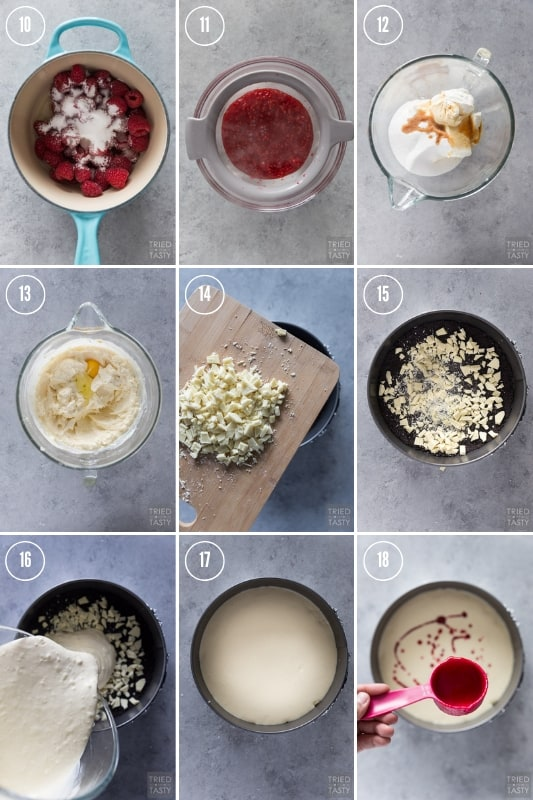 Step-by-step photo collage of how to make Cheesecake Factory White Chocolate Raspberry Truffle Cheesecake