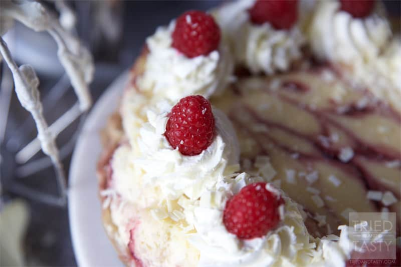 Copycat Cheesecake Factory White Chocolate Raspberry Truffle Cheesecake // Tried and Tasty