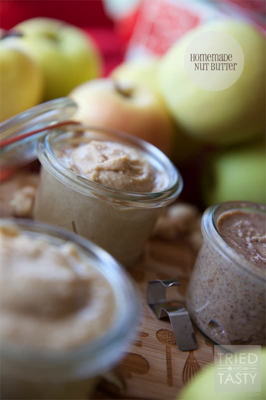 Homemade Nut Butter // Nut butter is so easy to make, and oh so delicious! Nothing better than fresh honey roasted peanut butter or cashew butter to slap on an apple slice to make your day! | Tried and Tasty