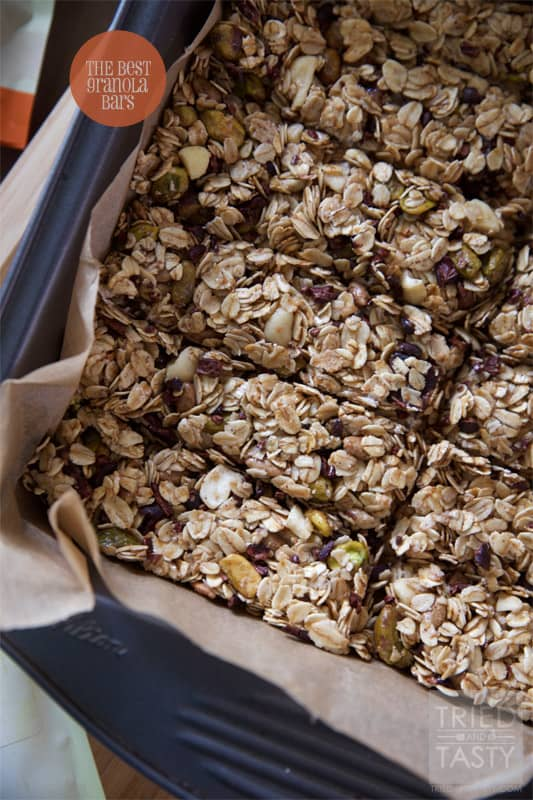 The Best Granola Bars // The perfect healthy homemade granola bar, in fact, I've called them THE best for a reason! They are downright delicious! Perfect at home, at work, or on the go! | Tried and Tasty