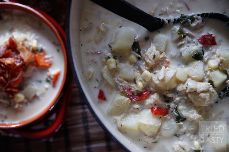 Turkey & Potato Corn Chowder // This Turkey & Potato Corn Chowder is a fantastic and delicious way to help use up some of your turkey leftovers. It's hearty, it's warm for the cool nights, and absolutely delicious. | Tried and Tasty