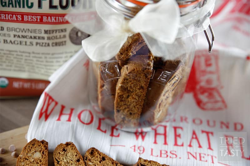 Whole Wheat Cinnamon Chip Almond Biscotti // A great cookie delicious served with your favorite warm drink. Perfectly paired with coffee or hot chocolate, but excellent alone as well! | Tried and Tasty