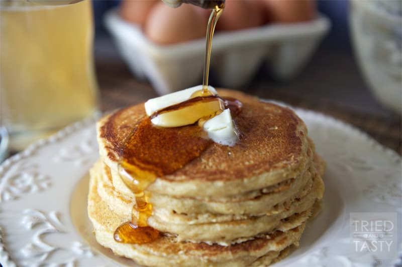 Whole Wheat Buttermilk Pancakes // Whole Wheat Pancakes that are perfectly soft, fluffy, and delicious. | Tried and Tasty