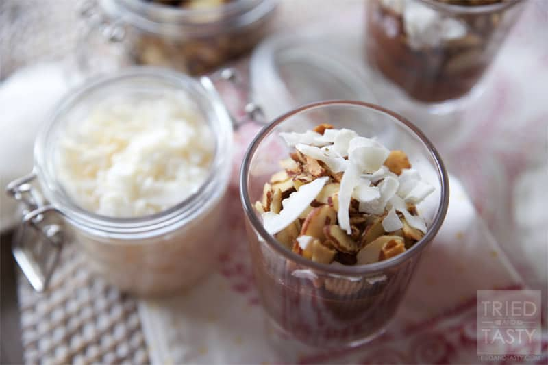 Almond Joy Chocolate Buttercream Parfait // The chocolate buttercream in this parfait is to die for, it's wonderfully decadent and completely guilt free! Win/Win!   Tried and Tasty