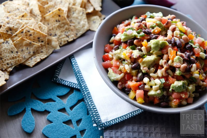 Cowboy Caviar // A delicious appetizer that's perfect for any #gameday or party! Your guests will fall in love with all the great flavors that are married together in this fantastic Cowboy Caviar #appetizer #snack #partyfood // Tried and Tasty
