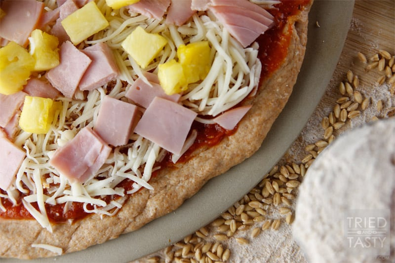 Whole Wheat Pizza Dough // A delicious healthy alternative to traditional white flour pizza dough.   Tried and Tasty
