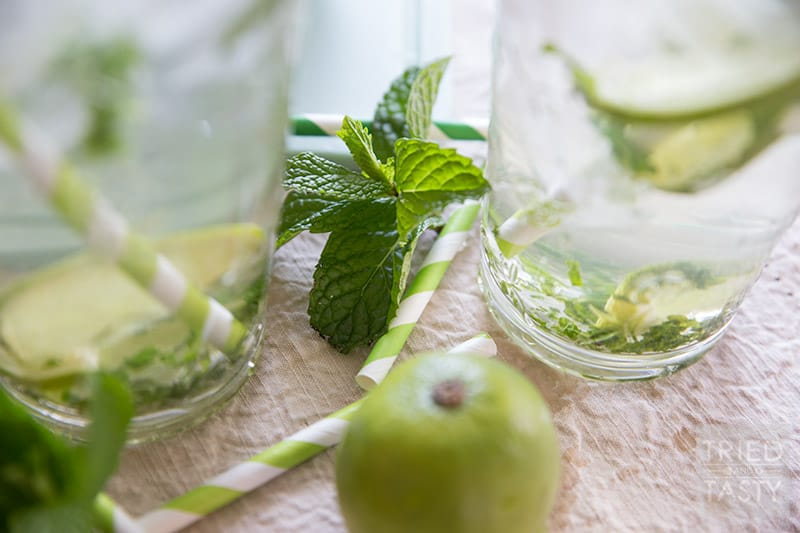 Minty Lime Water // For a cool, crisp and refreshing beverage, try this simple three-ingredient water! If you've ever needed help getting your daily water intake, this Minty Lime Water will help you reach your goals! | Tried and Tasty