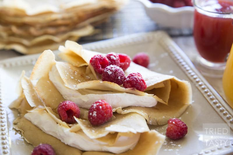 Gluten Free Crepes // This is the perfect breakfast or brunch for a special morning, celebration, or just because. Light, fluffy, and wonderful! | Tried and Tasty