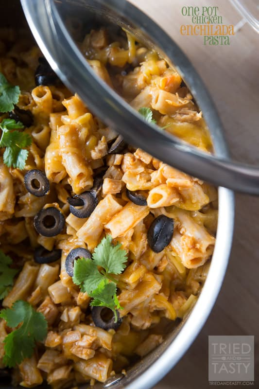 One Pot Chicken Enchilada Pasta // Tried and Tasty