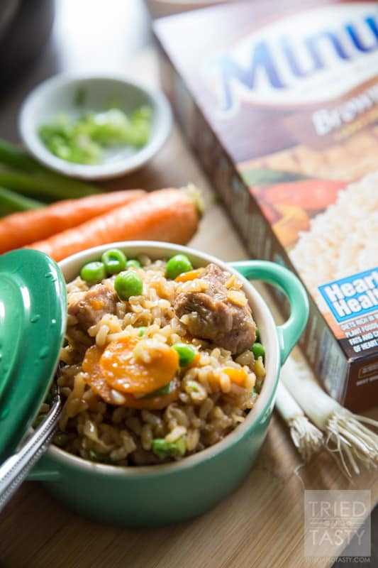 One Pot Asian-Inspired Pork & Rice // Use Minute® Brown Rice for this delicious and hearty meal. Powerful flavors come together to create and explosion of flavor in your mouth. One bite, and you will want to make this again and again. Perfect Asian-inspired dinner great any day of the week! #MinuteMeals #AD | Tried and Tasty