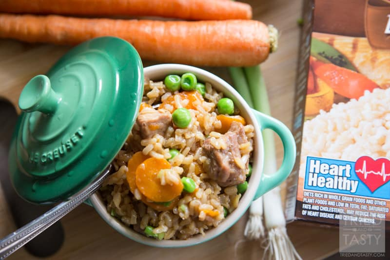 One Pot Asian-Inspired Pork & Rice // Use Minute Rice Brown Rice for this delicious and hearty meal. Powerful flavors come together to create and explosion of flavor in your mouth. One bite, and you will want to make this again and again. Perfect Asian-inspired dinner great any day of the week! #MinuteMeals #AD | Tried and Tasty