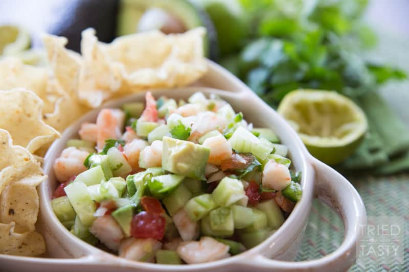 Shrimp Ceviche // This refreshing dip has outstanding flavor! Crisp, fresh, and perfect for any party, gathering, get together, potluck, or even for no reason at all! | Tried and Tasty