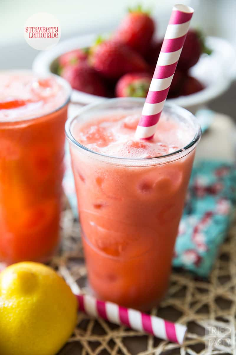 Strawberry Lemonade // Cool. Crisp. Refreshing. That's what this Strawberry Lemonade will deliver to you. With only five ingredients, you're only a blend away from a delicious beverage that will surely satisfy the best of cravings.   Tried and Tasty