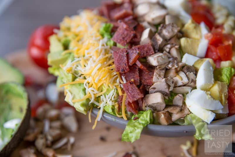 Ultimate Cobb Salad // Pull this healthy salad together in no time.  Makes for a bright & colorful appetizer, lunch, or side dish. Great all year long, filing, and delicious! | Tried and Tasty