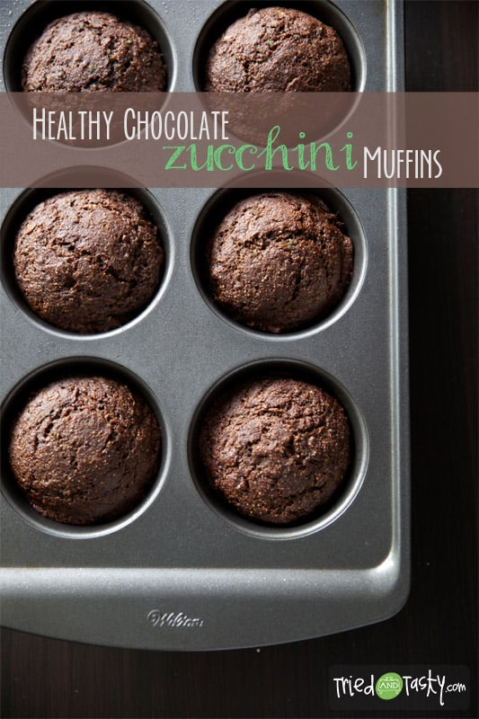 Healthy Chocolate Zucchini Muffins // Tried and Tasty