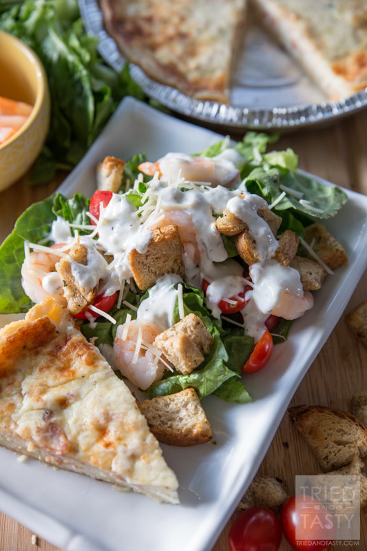Shrimp Caesar Salad // Looking for a delicious twist on Caesar Salad with a healthy flair? This Shrimp Caesar Salad recipe is topped with a guilt free dressing and paired with the most delicious La Terra Fina Quiche make the most wonderful meal! | Tried and Tasty