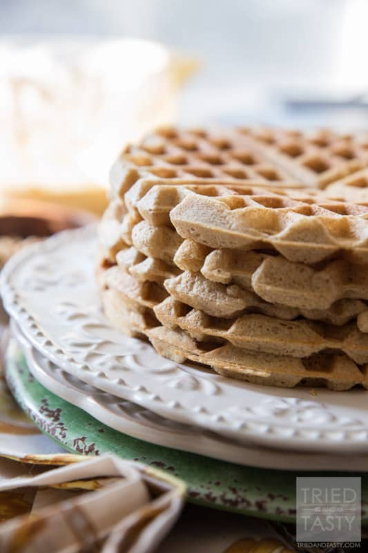 Whole Wheat Apple Pie Waffles // Looking to amp up your nutrition in the morning? These whole wheat waffles have a secret ingredient that packs them with protein! They are easy, delicious, and a great way to start your morning! | Tried and Tasty