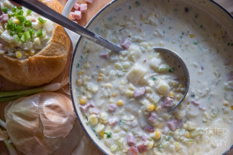 Smoked Ham & Corn Chowder // If you love the taste of smoked meat, you will love this Smoked Ham & Corn Chowder that's simple to throw together, packed with flavor, and perfect for any night of the week! Your whole family will fall in love with this easy dinner idea! Pair with your favorite salad and serve with warm crusty bread! | Tried and Tasty