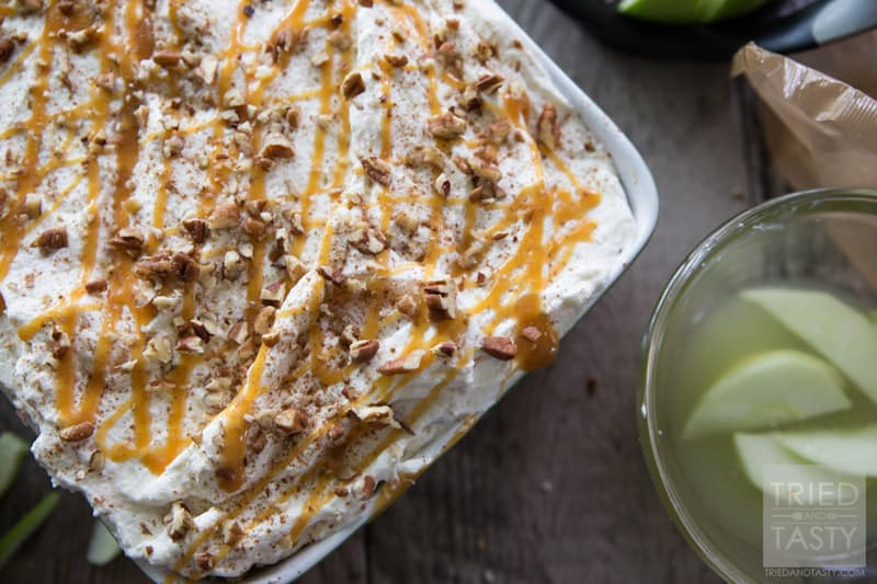 No Bake Caramel Apple Pie Icebox Cake // Love caramel apples? Made with less than 10 simple ingredients this festive fall dessert is perfect for your parties and get togethers this season. Light, fluffy & wonderfully decadent you'll immediately fall in love with this treat! | Tried and Tasty