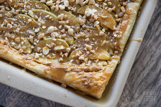 Caramel Apple Tart // This quick & easy dessert is perfect for your special breakfast, brunch, ladies get together, holiday or anytime you want! Only a few ingredients + some prep + baking time = a kick butt treat! | Tried and Tasty
