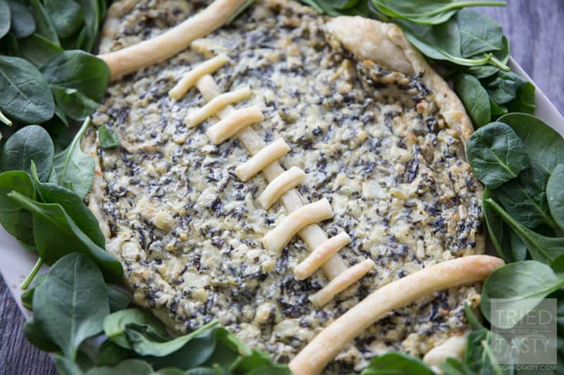 Football Spinach & Artichoke Dip // This two ingredient appetizer is sure to be a hit at your next game day party. Made with only two ingredients you can whip this up in little to no time. Serve with your favorite veggies or chips! | Tried and Tasty