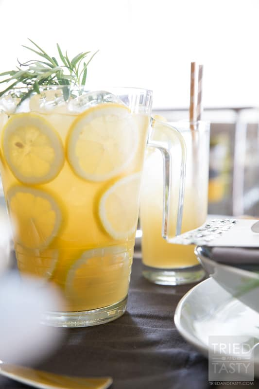 Vanilla Rosemary Lemonade // With no refined sugar added, you'll be pleasantly surprised by how perky this delicious lemonade is. Only five ingredients and you'll be set with the perfect beverage to entertain any of your guests of all ages! | Tried and Tasty