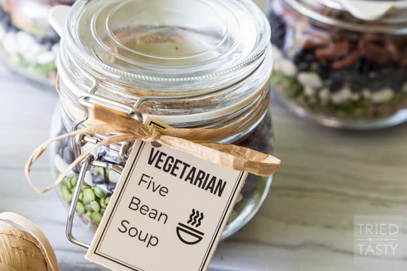 Vegetarian Five Bean Soup // If you're in need of a great healthy edible gift, this soup is perfect! All your recipient needs to add is a can of diced tomatoes and some water. Doesn't get any easier than that! Great for holidays, dinner parties, or any other celebration needing a wonderful & thoughtful gift! | Tried and Tasty