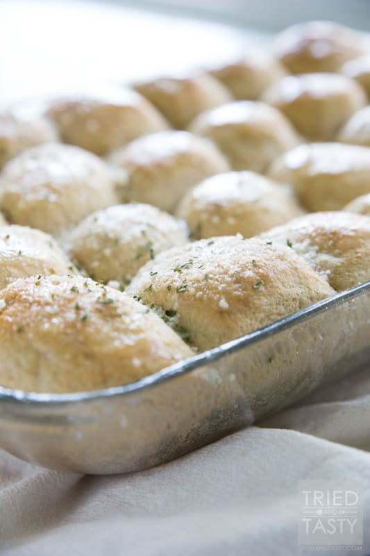 Fluffy Whole Wheat Parmesan Garlic Rolls // You haven't had a more pillowy soft whole wheat roll until you've tried this recipe! These homemade rolls are absolutely fantastic and you'll have a hard time believing they are 100% whole wheat. Great for special occasions and holidays! | Tried and Tasty