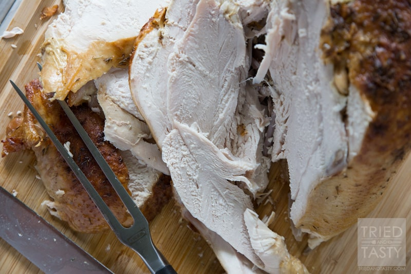 Parmesan Roasted Turkey // Looking for a juicy oven roasted turkey with a twist? This Parmesan Roasted Turkey is phenomenal and great for any holiday. Plus, the leftovers make great turkey sandwiches or filling for a hearty soup. | Tried and Tasty