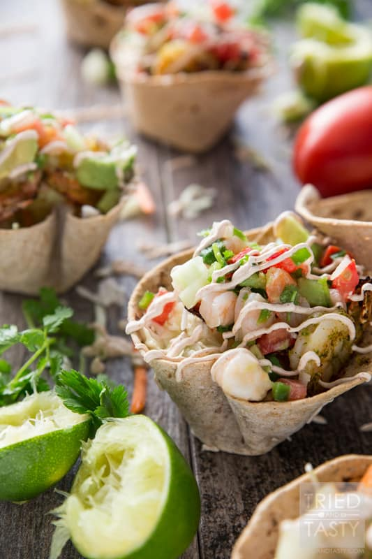 Shrimp Taco Cups // Made with Flatout Multi Grain with Flax Flatbread, these Shrimp Taco Cups are a unique way to throw a Mexican Fiesta dinner party. Packed with flavor in the knockout combo of marinated grilled shrimp AND topped with a zesty shrimp ceviche! | Tried and Tasty