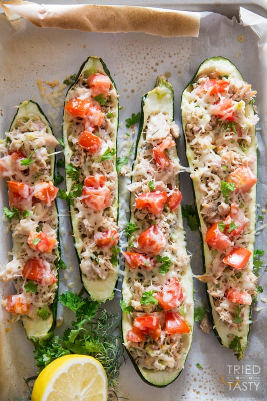 Healthy Zucchini Tuna Melts // These delicious tuna melts are the low-carb gluten-free version of a classic. Made with high quality Genova tuna you will want to make them again and again. Simple Ingredients. Vibrant flavor. Ready in less than 30 minutes! | Tried and Tasty