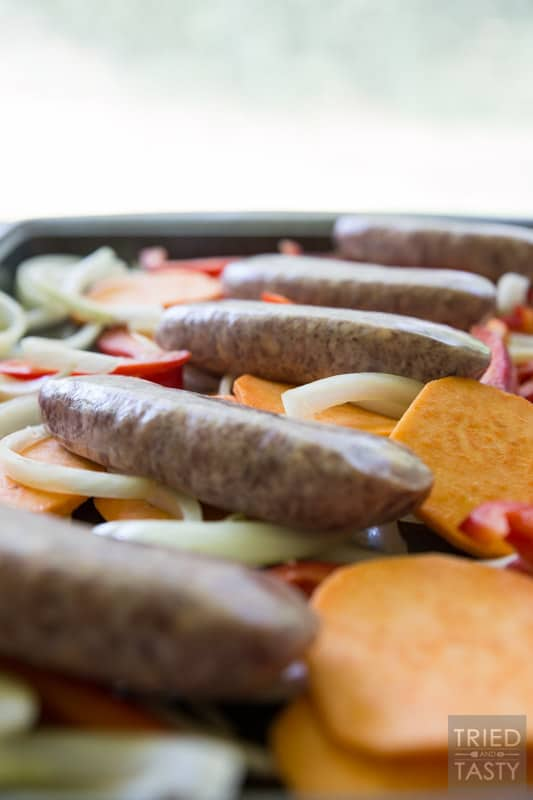 Roasted Brats And Veggies // Celebrate 'Bratsgiving' with this delicious simple meal idea. You probably already have everything on hand, so make this today!   Tried and Tasty