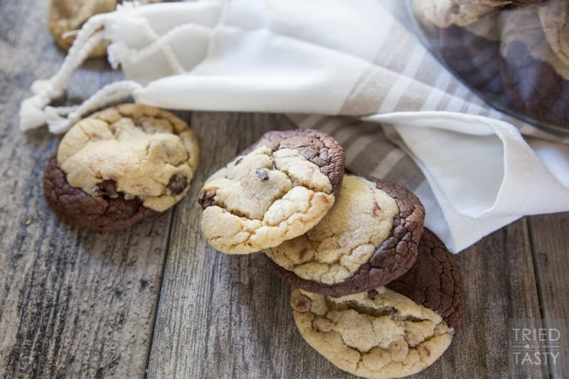 Chocolate Chip Brownie Cookies [a.k.a. Brookies] // Even been torn between wanting a brownie and wanting a cookie? Be torn no more! These Brookies are exactly what you didn't know you were looking for. Ther perfect cookie dough recipe paired with a brownie mix cookie for a chewy, fudgy, sweet treat - that is the best of both worlds! | Tried and Tasty
