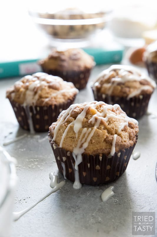 Apple Snickerdoodle Muffins // These muffins are the perfect amount of sweetness, hint of tart, moist, and downright delicious. If you love snickerdoodles, you will fall in love with this muffin!   Tried and Tasty