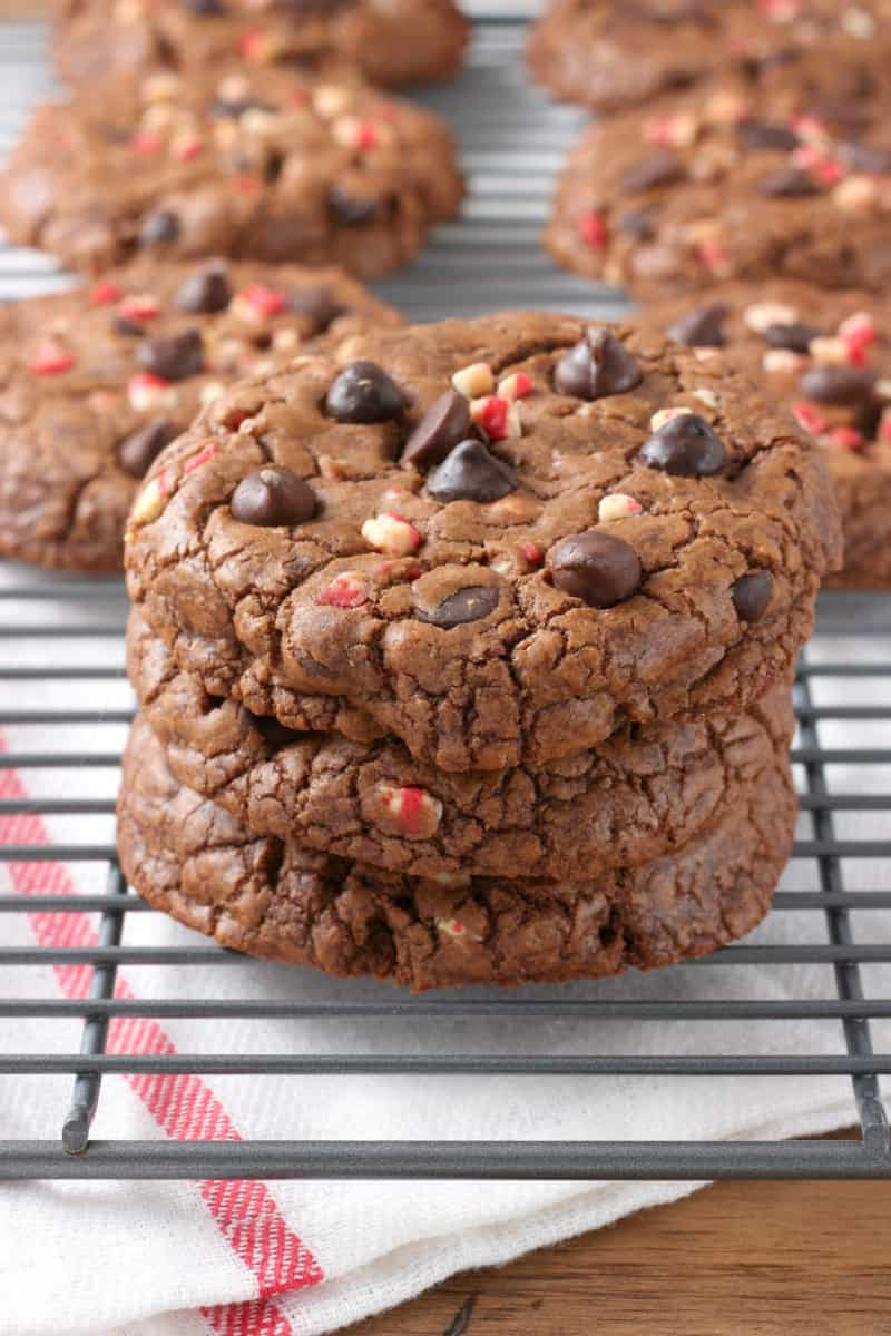 Giant Peppermint Chocolate Fudge Cookies // A Kitchen Addiction