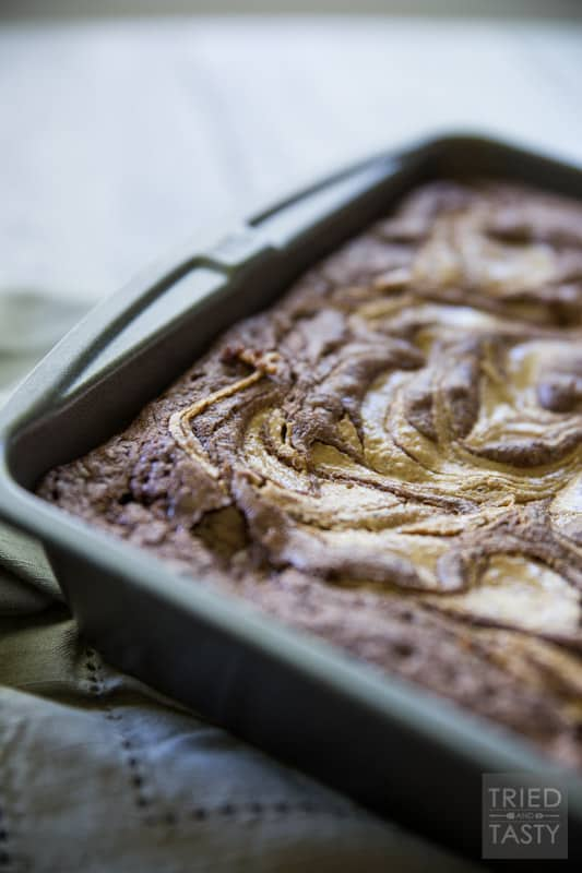 Bestie Swirl Brownies // A homemade 'from scratch' brownie recipe is elevated with the most delicious nut butter. Sink your teeth into these for a tasty treat. If you want even more of a decadent dessert, make it a la mode! | Tried and Tasty