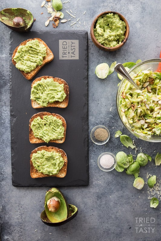 Cheesy Brussels Sprouts and Avocado Toast // Avocado toast is all the rage. However. You haven't had THIS avocado toast before! This will change your life. Even if you don't like avocados you will LOVE this delicious combination. This recipe has everything you want in an avo toast: a little bit of crunch, a little bit of cheese, some veggies and a whole lot of flavor.   Tried and Tasty