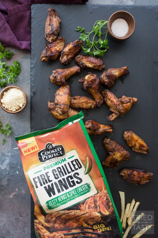 Game Day Wings 'n Parmesan Garlic Fries // Need a super bowl appetizer? Want some fun finger food that's sure to please a crowd? This power packed combo is sure to give you're guests exactly what they want! | Tried and Tasty